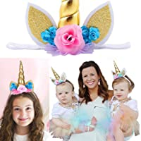 Kyson 1pc Unicorn Flowers Hairbands for Kids Adult , Ideal for Birthday Christmas Cosplay Party