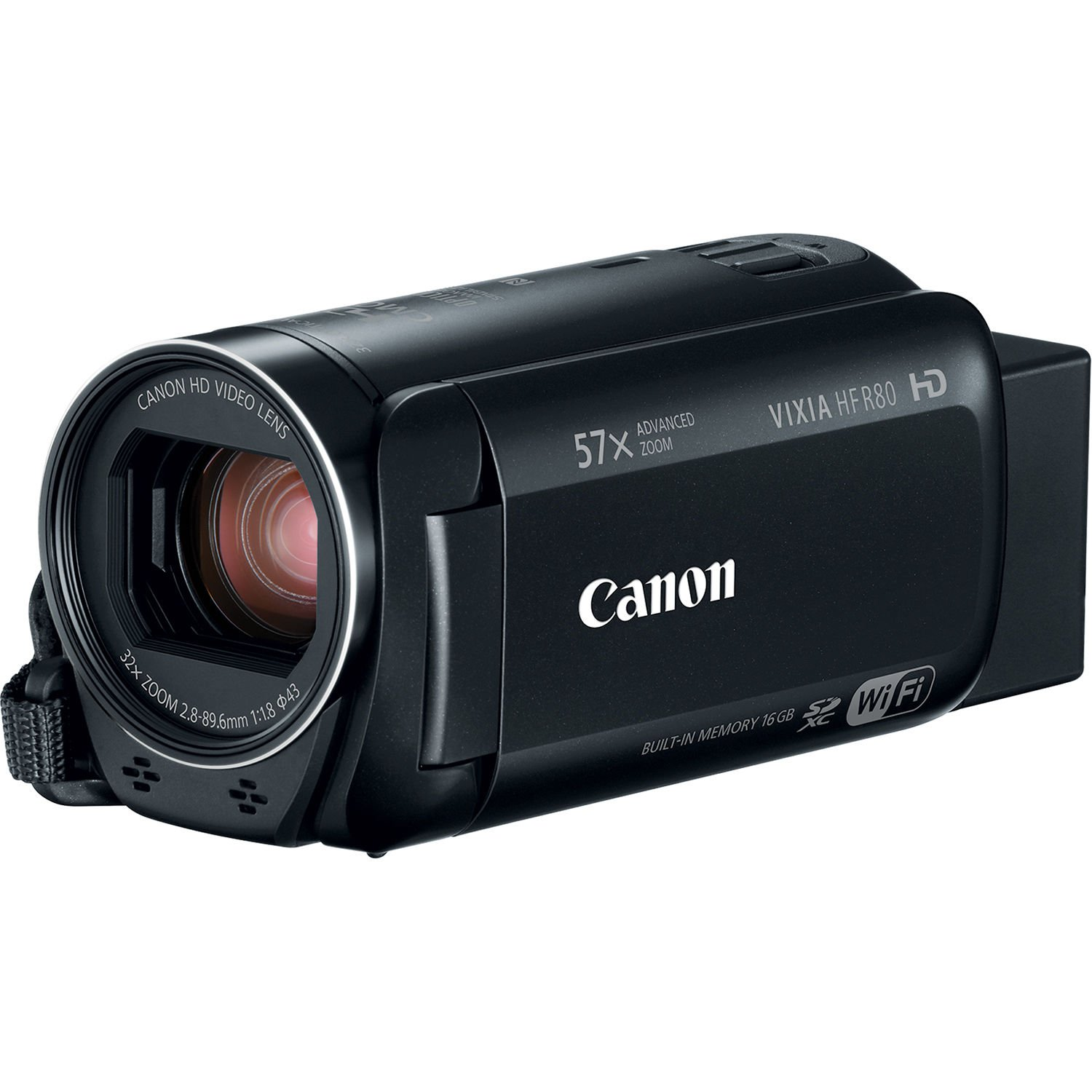 Canon VIXIA HF R80 Full HD Camcorder with 57x Advanced Zoom, 1080P Video, 3'' Touchscreen and DIGIC DV 4 Image Processor - Black (Certified Refurbished)
