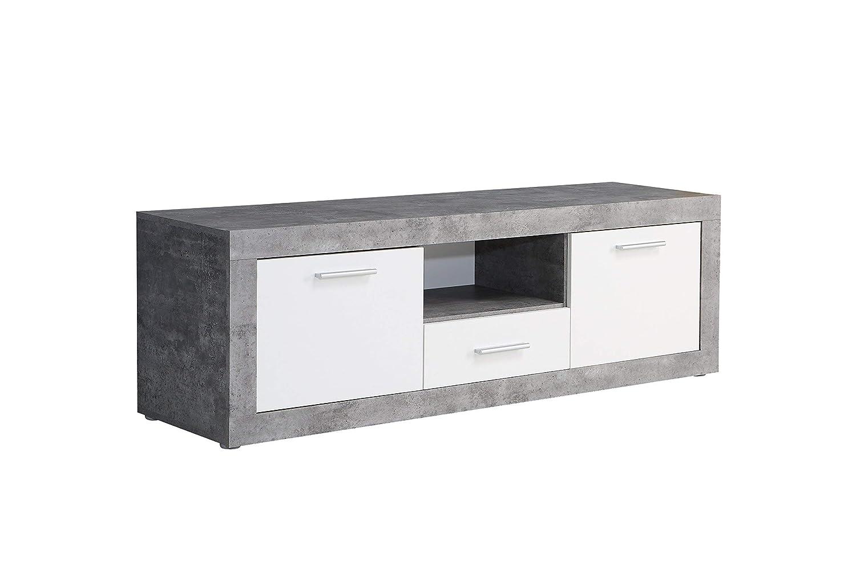 NEWFACE  TV-Unterschrank, Holz, Beton Optik Weiß, 147.80 x 41 x 49.90 cm