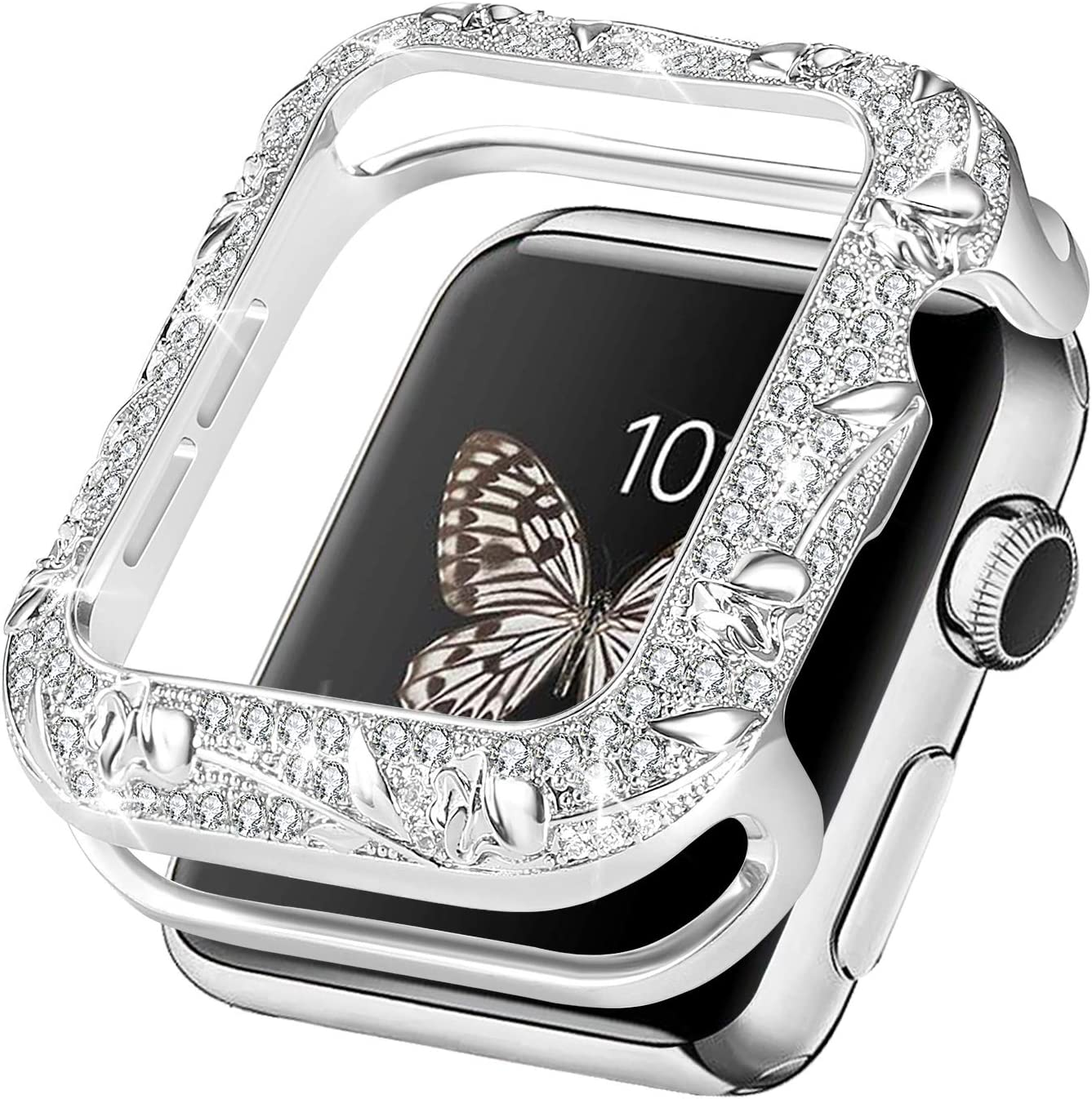Fohuas bling floral case compatible apple watch 40mm,Luxury rhinestone apple watch Bezel 40mm,Vintage sparkling jewelry cover bumper protector for apple watch series 6 5 4 SE-silver