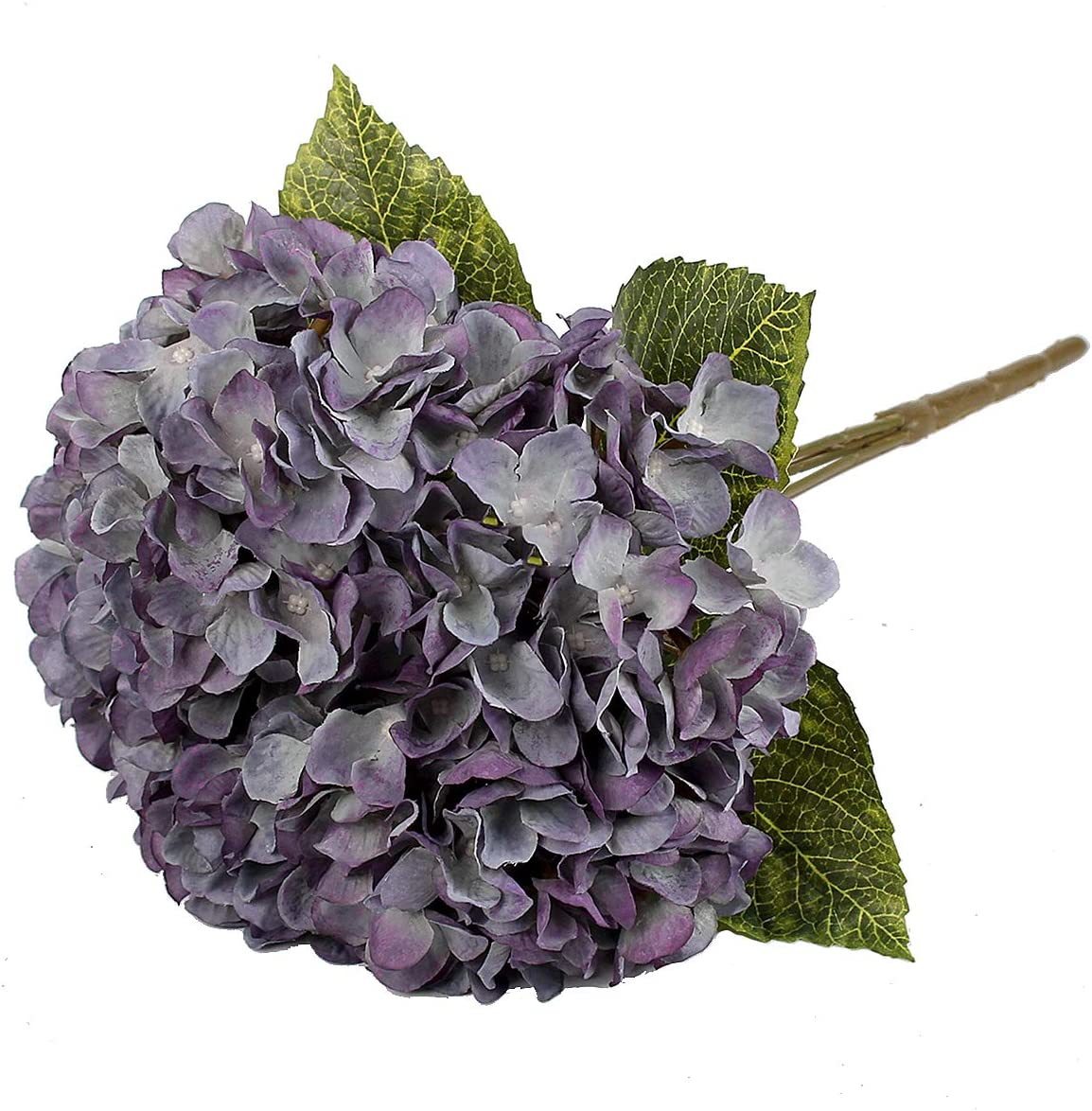 Jim`s cabin Artificial Flowers Silk Hydrangea Flowers with 5 Big Heads Fake Flower Bunch Bouquet for Home Wedding Party Decor DIY (Purple)