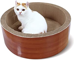 ScratchMe Cat Scratching Post Lounge Relaxing Bed , Cat Scratcher Cardboard with Catnip, Durable Recycle Board Pads Prevents Furniture Damage, Yellow/Green Color