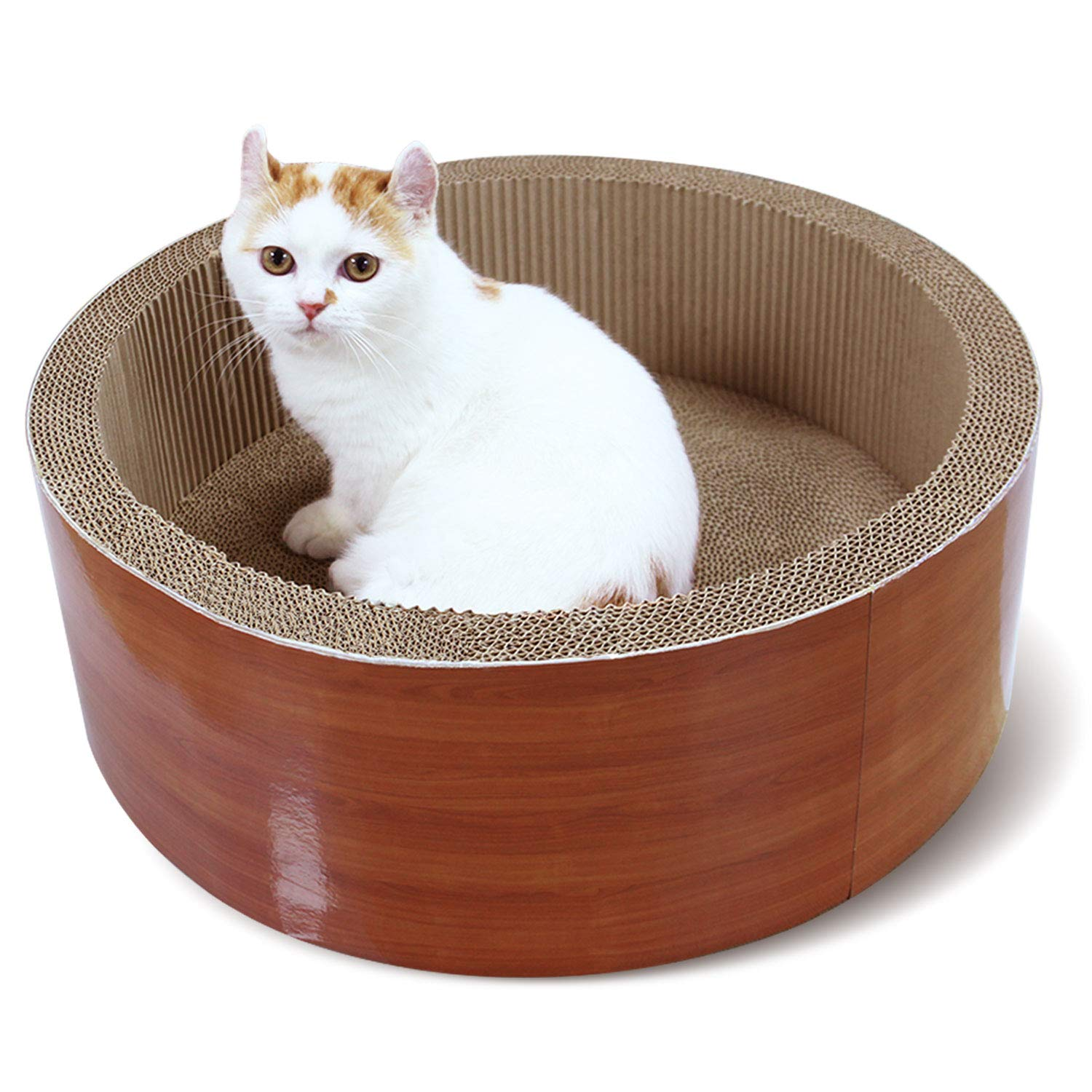 ScratchMe Cat Scratching Post Lounge Bed, Round Shape Cat Scratcher Cardboard Board Pads with Catnip, Durable Recycle Pad Toy Prevents Furniture Damage by ScratchMe