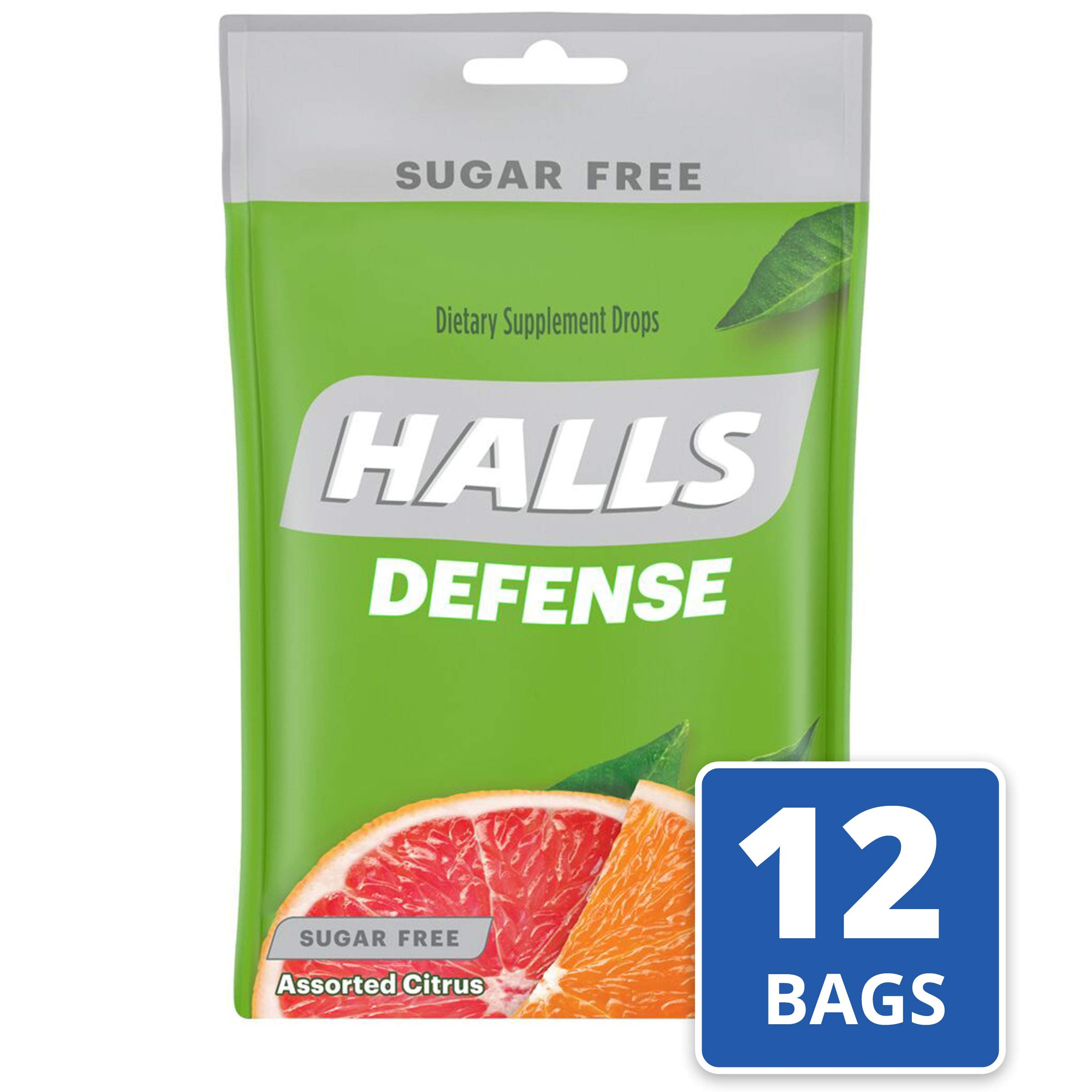 Halls Defense Citrus Sugar Free Vitamin C Drops - 300 Drops (12 bags of 25 drops) by Halls