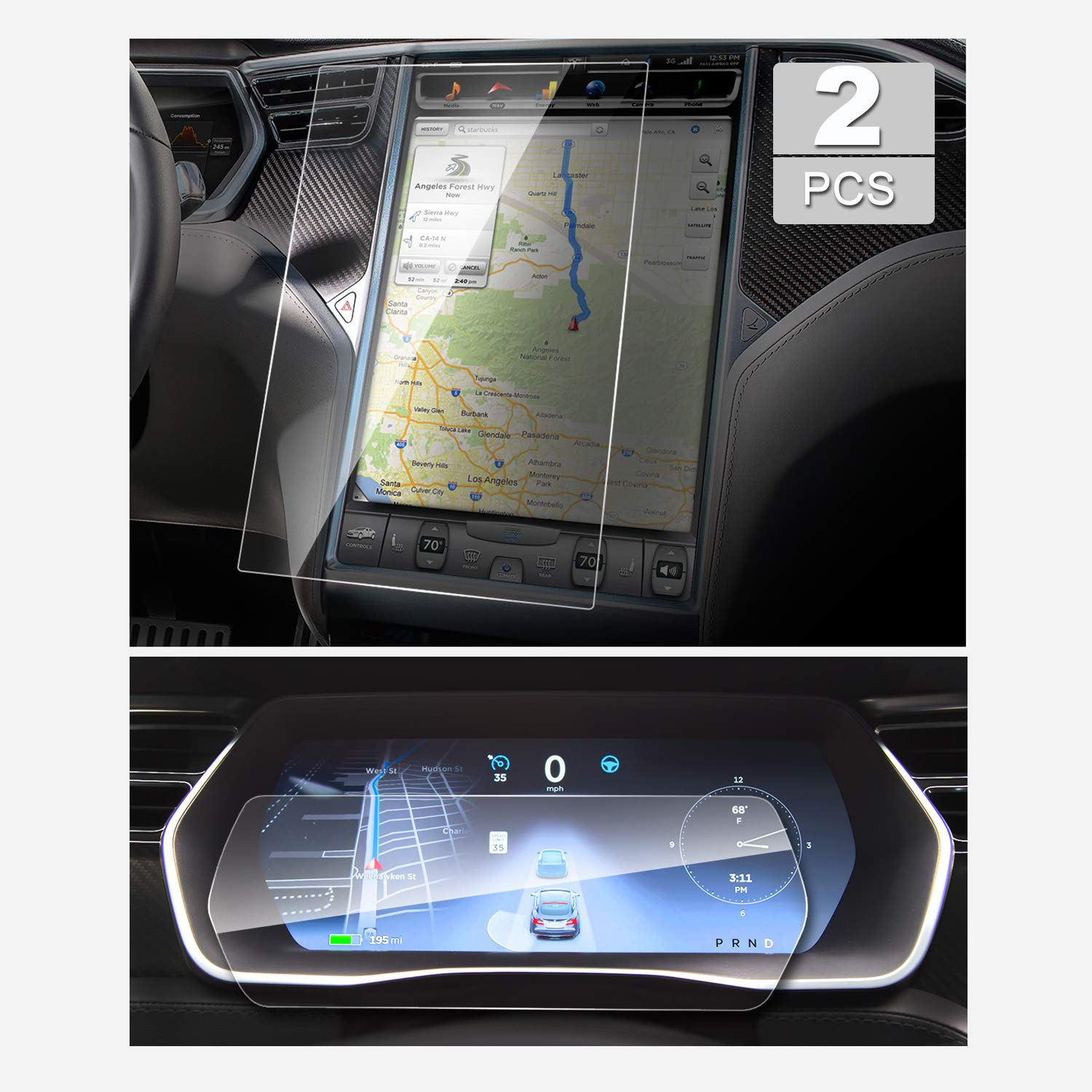YEE PIN Tesla Model S P85D 75D 100D P100D 17 Inch Dedicated Central Information Screen and 12.3 Inch Dashboard Panel are Combine Navigation Protective Film(2 Packs)