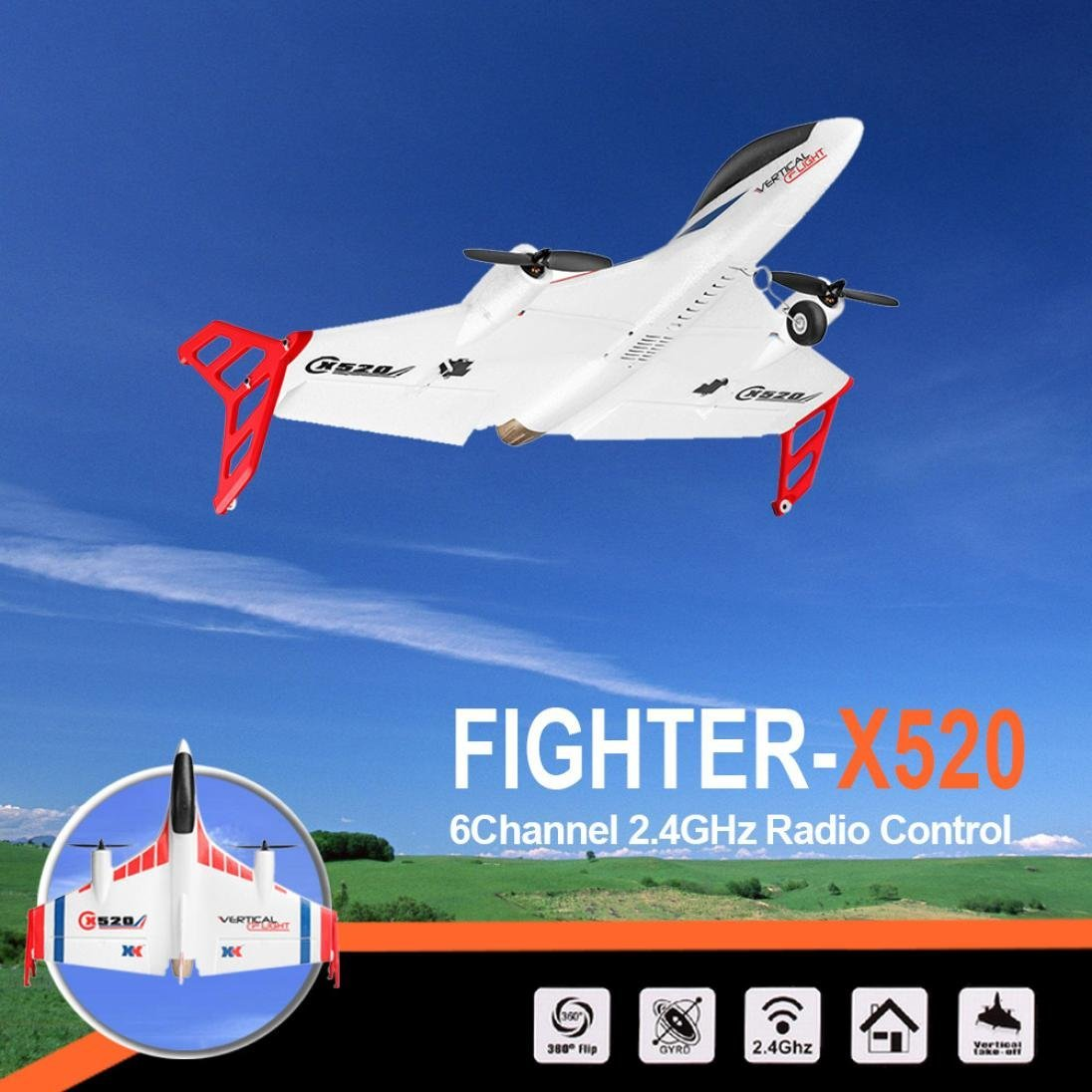 WLtoys XK X520 2.4G 6CH 3D/6G Airplane Vertical Takeoff Land Delta Wing RC Glider by Dreamyth (Image #8)