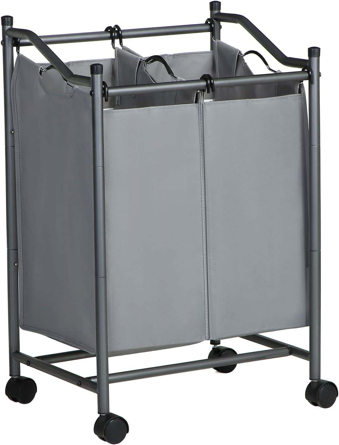 SONGMICS Rolling Laundry Sorter, Laundry Basket with 2 Removable Bags, Laundry Trolley, Toy Organiser on Wheels, Sturdy, 2 x 45L, Grey LSF002GS Gray