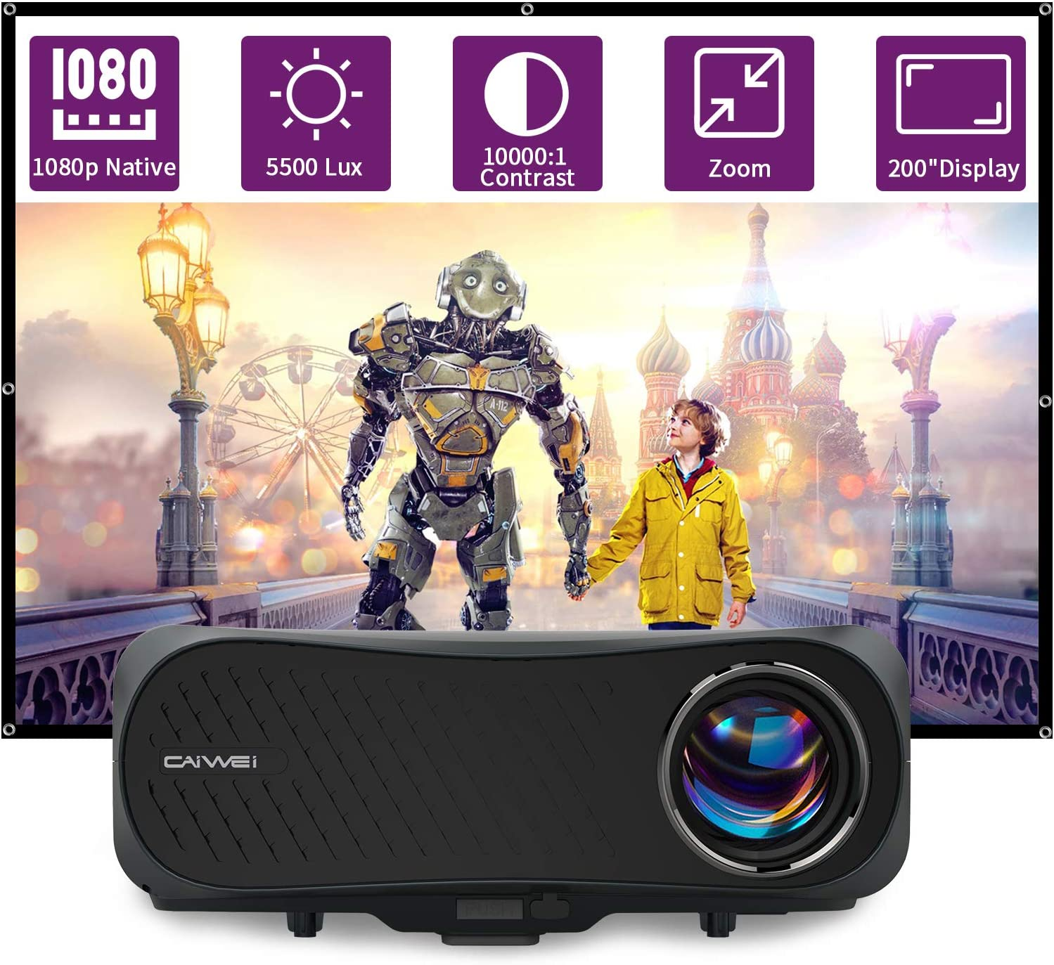 1080P Projector,5500 Lumen LCD HD 200 Inch Display Outdoor Movie Home Theater Gaming Projector,HDMI Smart Phone Projector Support Zoom Keystone for USB Stick DVD Player Laptop AV Audio VGA Roku Mac