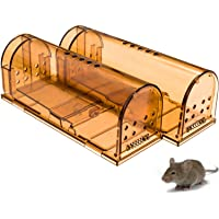 CaptSure 2019 Upgraded Humane Smart Mouse Trap, Kids/Pet Safe, Easy to Set, for Indoor/Outdoor, Reusable, for Small Rodents/Voles/Hamsters/Moles. Best Catcher That Works. 2 Pack (Small)