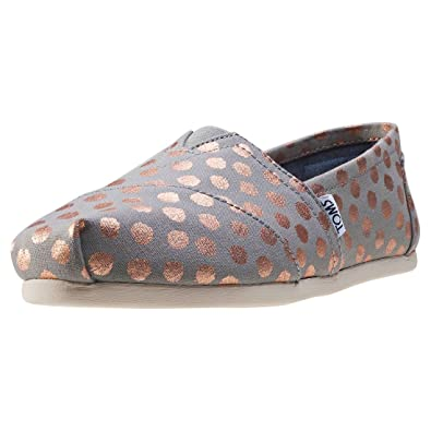 Toms Womens Classic Canvas SlipOn Drizzle GreyRose Gold Foil Polka Dot
