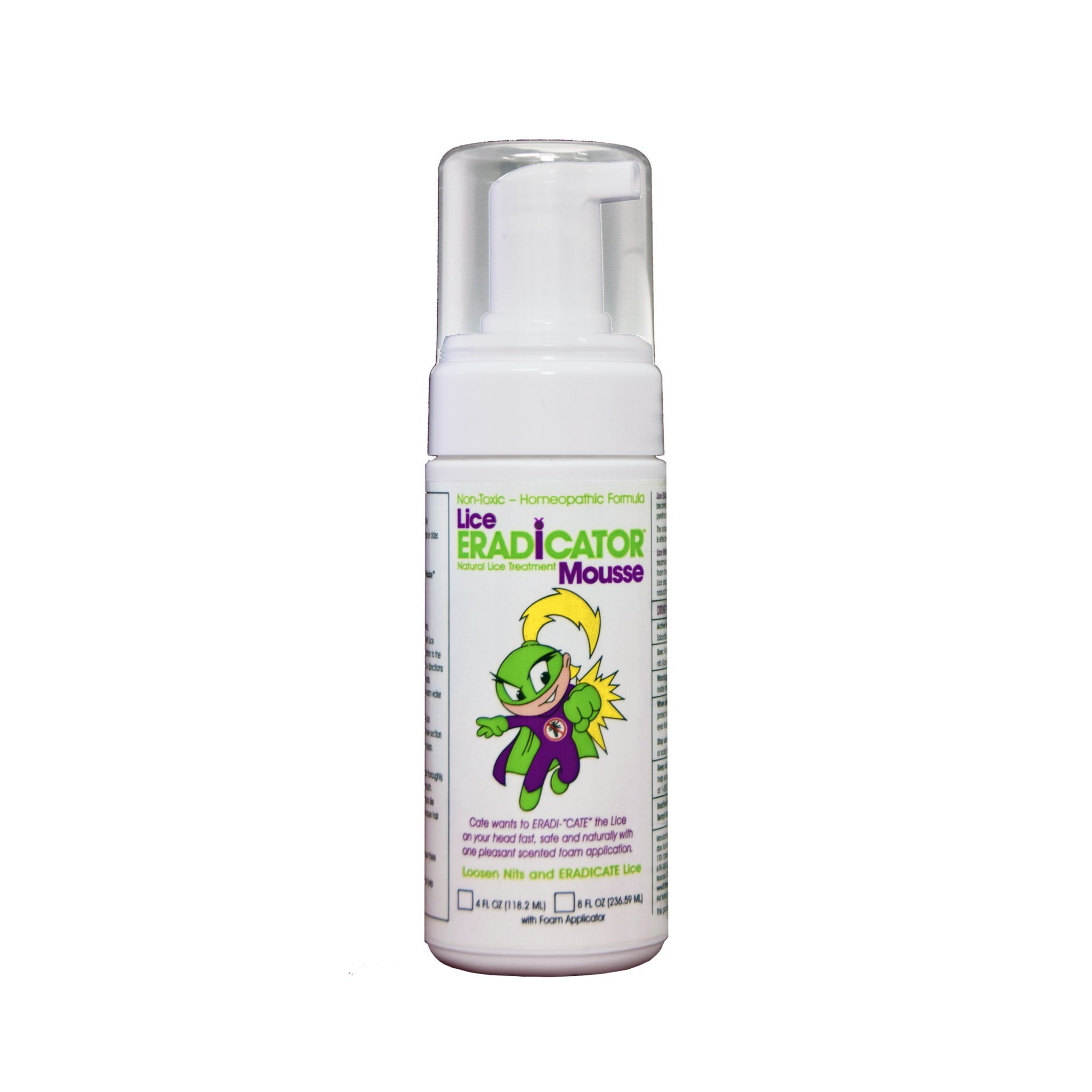 Lice ERADICATOR Foam Spray Mousse / Non-Toxic, Natural Lice Treatment, Peppermint Formula / 4 Ounce Bottle with Foam Applicator