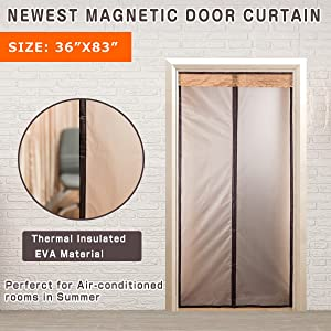 "Magnetic Thermal Insulated Door Curtain For Air Conditioner Heater Room/Kitchen Warm Winter Cool Summer, Keeping Out Draft And Cold Air Screen Door Auto Closer Fits Doors Up To 34""x 82"" MAX"