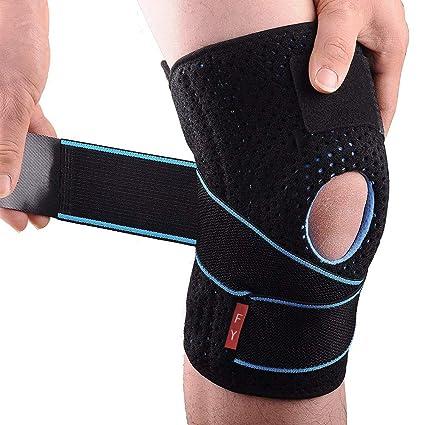 Rodillera Menisco Ligamento Deportiva Ajustable Protector de Rótula Abierta Rotuliana Antideslizante Neopreno Compresión Estabilizadora para Correr