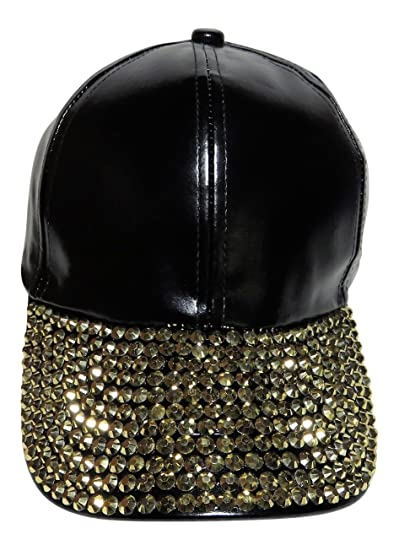 Spirit Caps Black Patent Leather Like Baseball Cap W All Bling Bill Hat  Fashion Headwear (Black with Gold Stones) at Amazon Women s Clothing store  fcc7051fdea