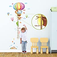 DECOWALL DAT-1606N Animal Hot Air Balloon Height Chart Kids Wall Stickers Wall Decals Peel and Stick Removable Wall…
