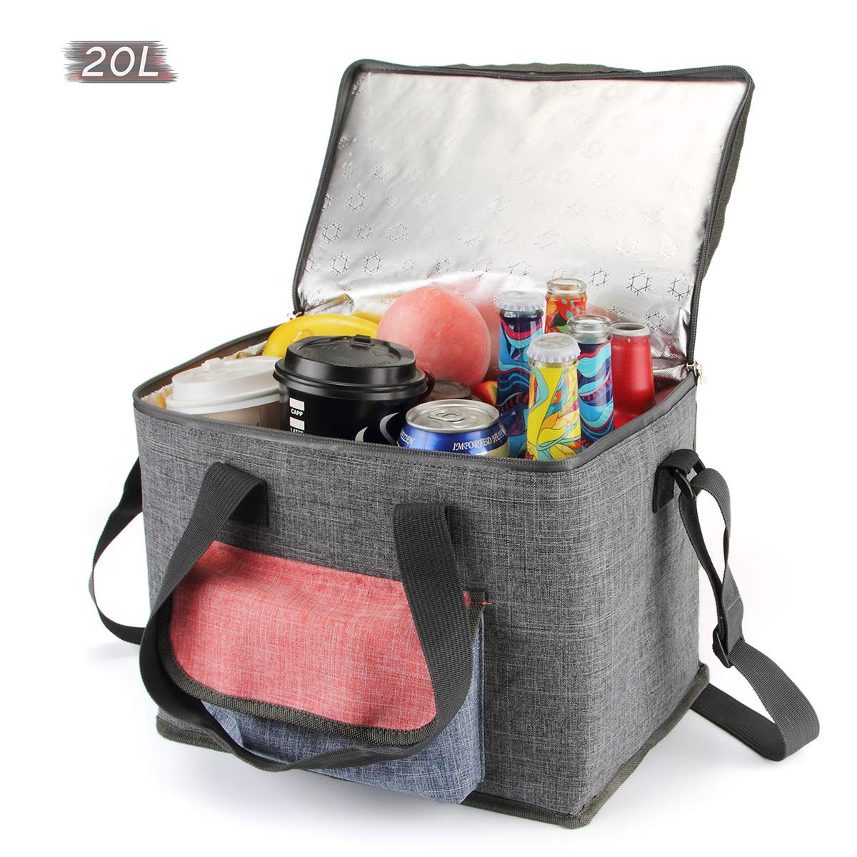 AnSun Large Insulated Cooler Bags, Soft Foldable Coolers for Picnic Camping Beach BBQ Food Shopping Travel, 20L Grey