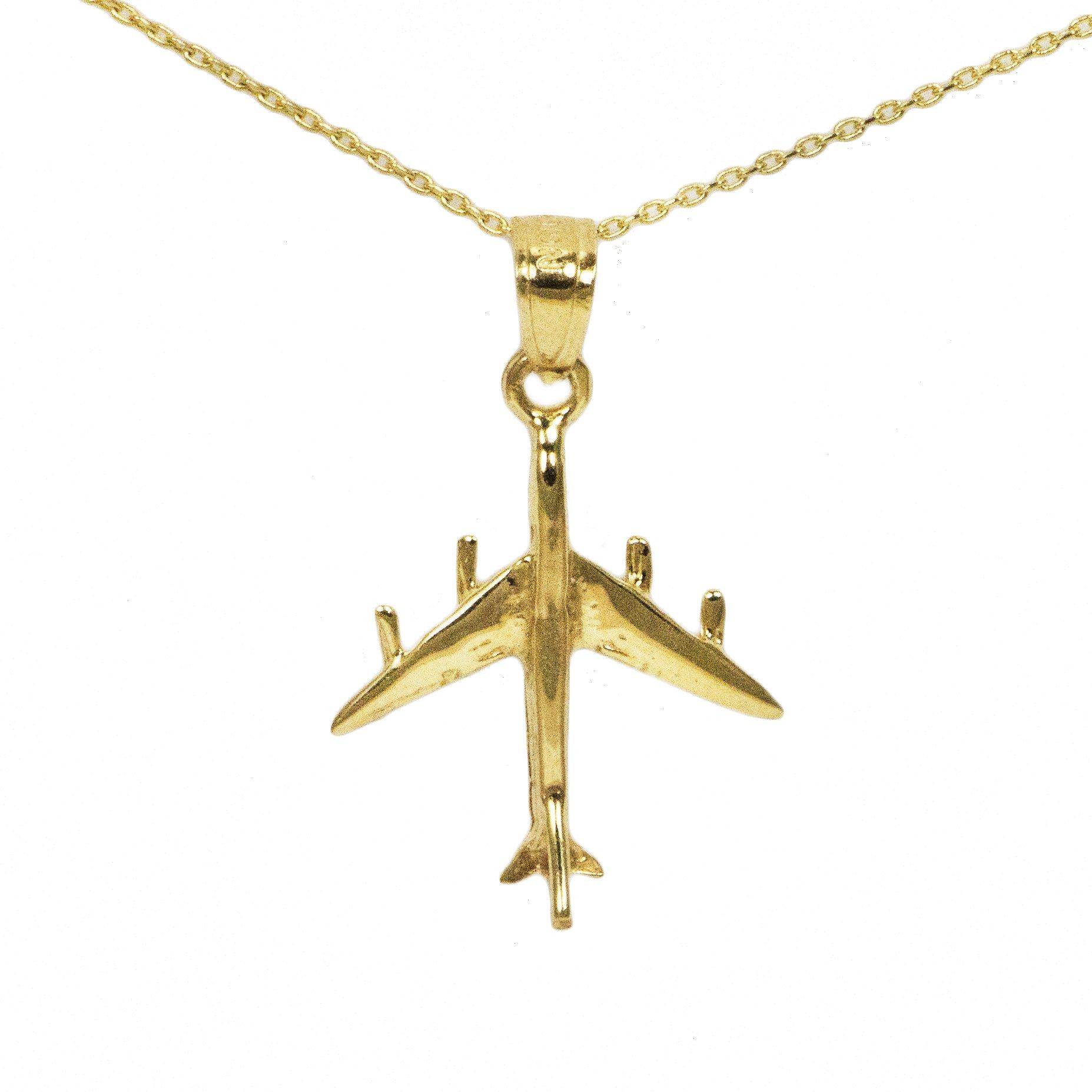 14k Yellow Gold Airplane Pendant