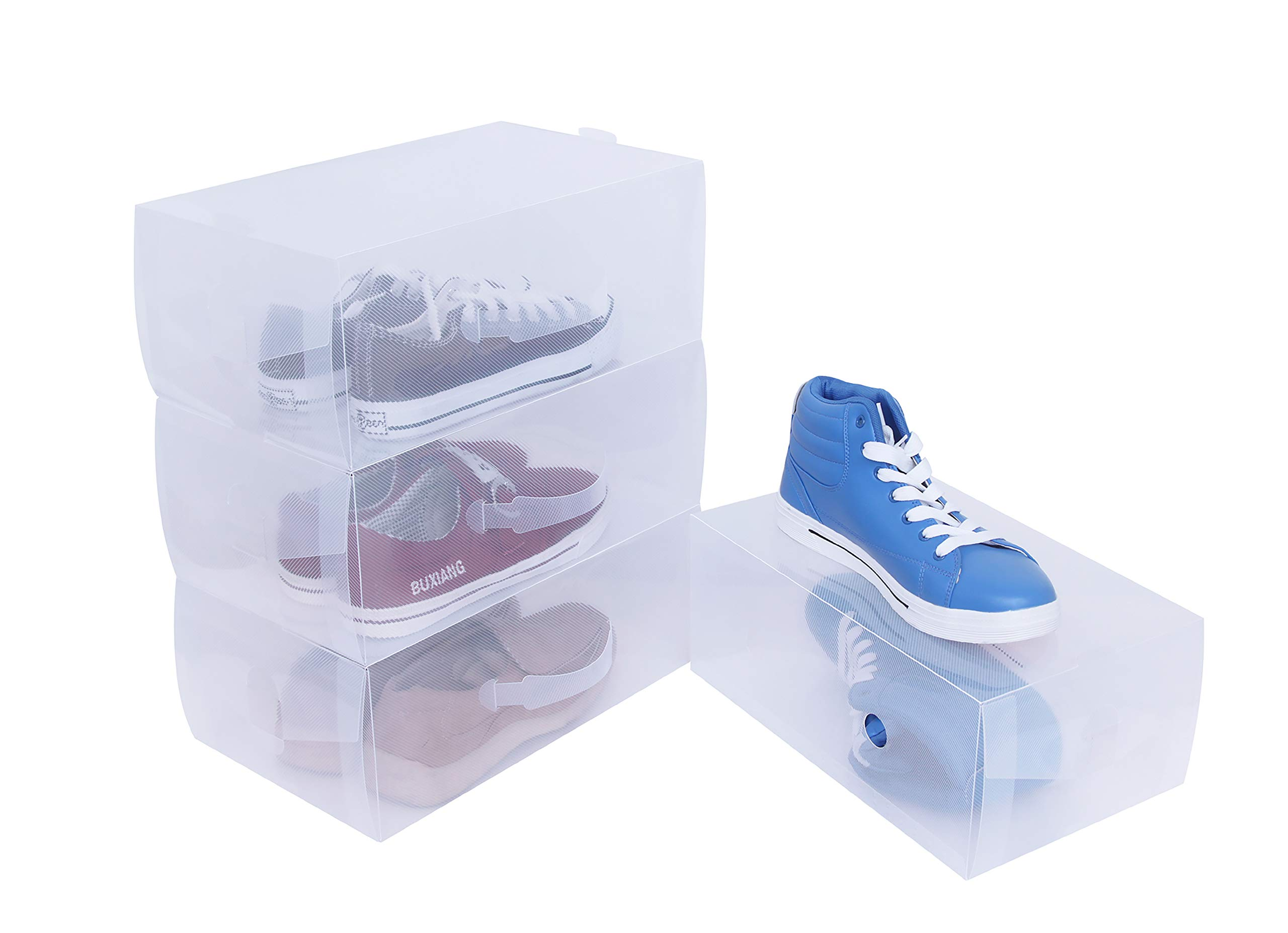 ITIDY Shoe-Box,Women and Men Shoe Storage Boxes with Handles for Easy Carrying,Plastic Foldable Stackable Shoe Storage Container,Closet Shelf Shoe Organizer,Pack of 4,Clear