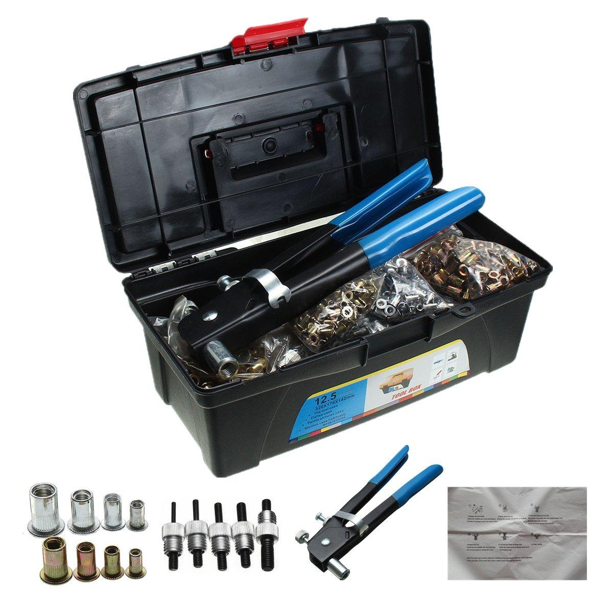 HITSAN 1600Pcs M3 M4 M5 M6 M8 Blind Rivet Nut Rivnut Nutsert Insert Tool Box Kit One Piece