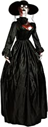 """Halloween Haunters 80"""" Life-Size Animated Standing Moving Zombie Widow Witch Lady Prop Decoration - Rubber Latex Scary Face, Light Up Eyes - Animatronic Body Turning Motion - Haunted House Entryway"""