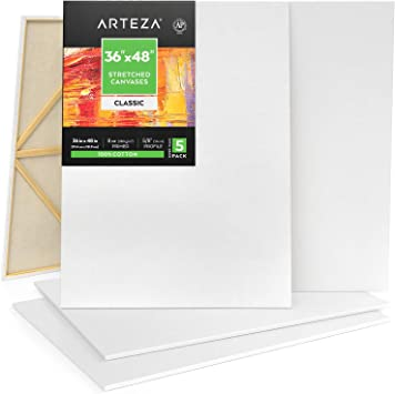 Oil Paint /& Wet Art Media Primed Hobby Painters /& Beginner Arteza 36x48? Stretched White Blank Canvas Acrylic Pouring Canvases for Professional Artist Bulk Pack of 5 100/% Cotton for Painting