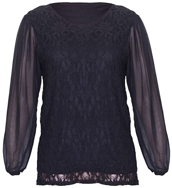 3a01fd1e64a Womens Chiffon Sheer Lace Mesh Full Sleeve Ladies Round Neck Stretch Lined  Floral Blouse Top Plus Size  Amazon.co.uk  Clothing