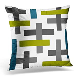 VANMI Throw Pillow Cover Teal Chartreuse Blue Green Grey Abstract Gray Charcoal Decorative Pillow Case Home Decor Square 20x20 Inches Pillowcase