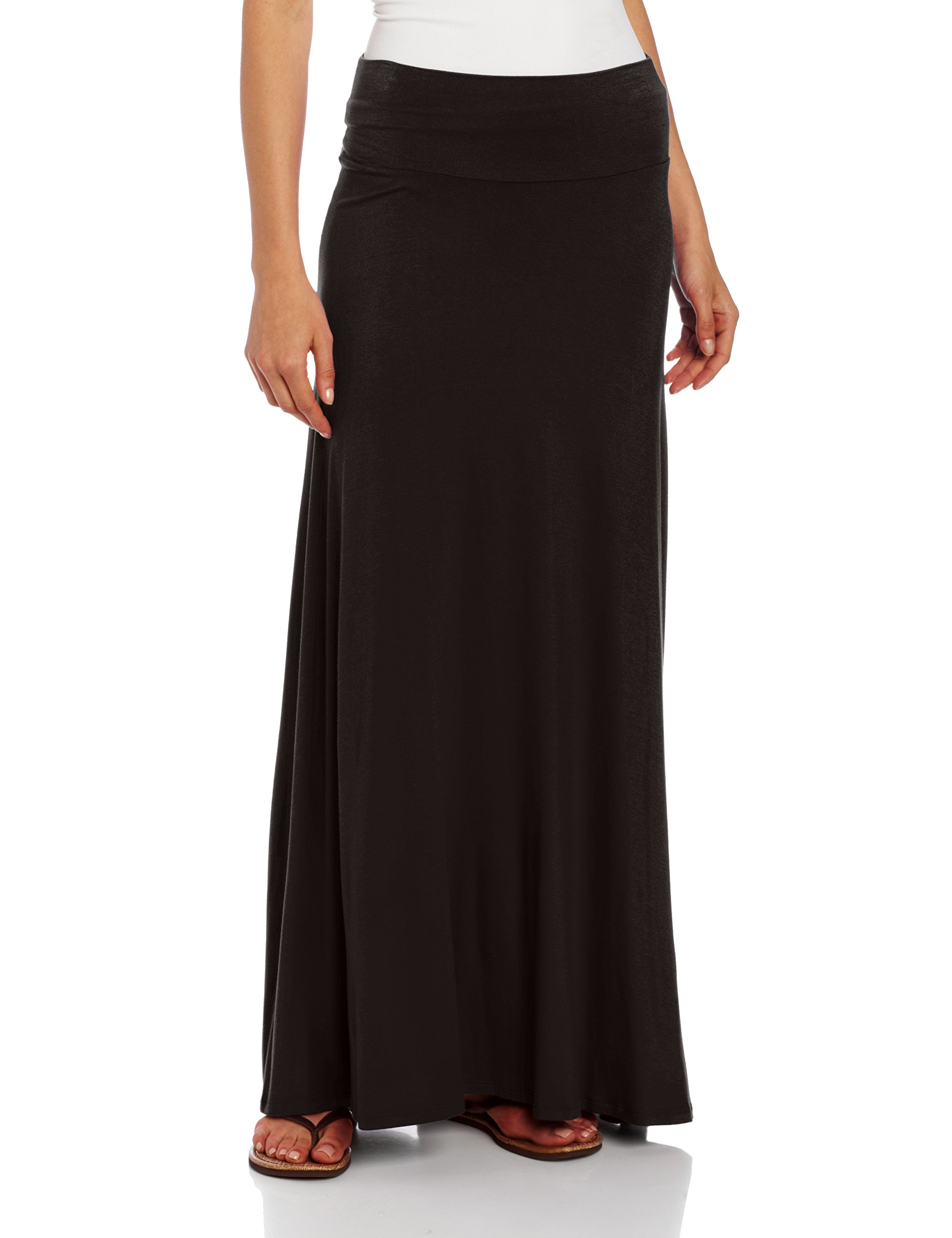 AGB Women's Timeless Fashion Long Soft Knit Skirt with Waist Detail, Black, Medium