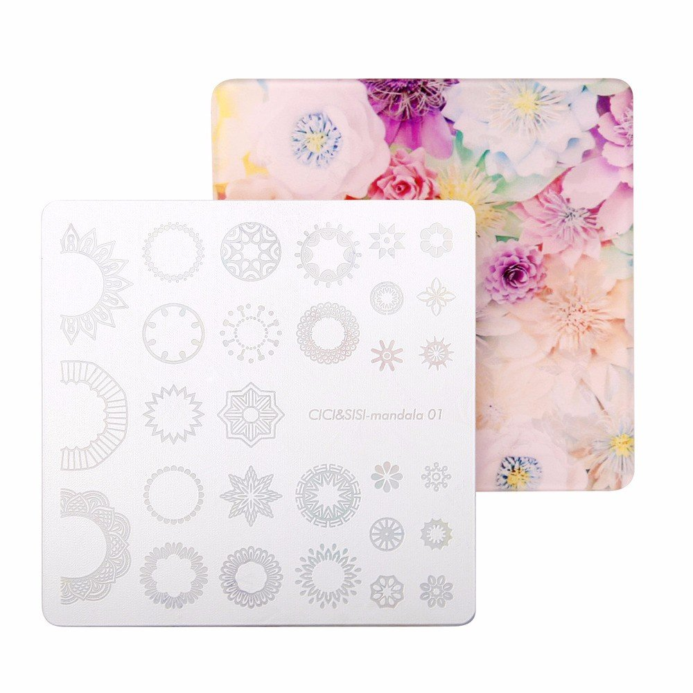 CICI& SISI Nail Art Stamping Plates Kit Mandala Plate Manicure Template (Flower 03)