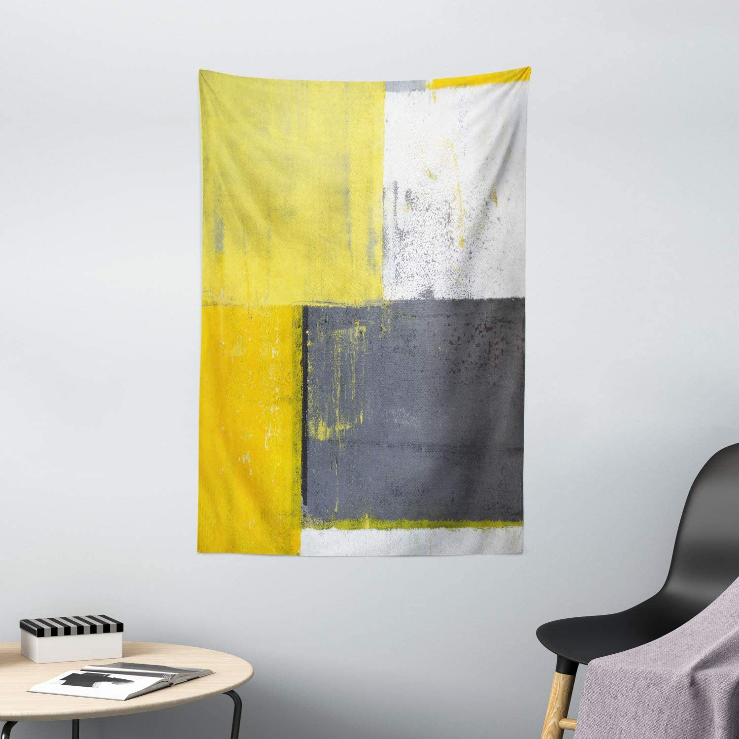 "Ambesonne Grey and Yellow Tapestry, Street Art Modern Grunge Abstract Design Squares, Wall Hanging for Bedroom Living Room Dorm Decor, 40"" X 60"", White Charcoal Grey Pale Yellow"