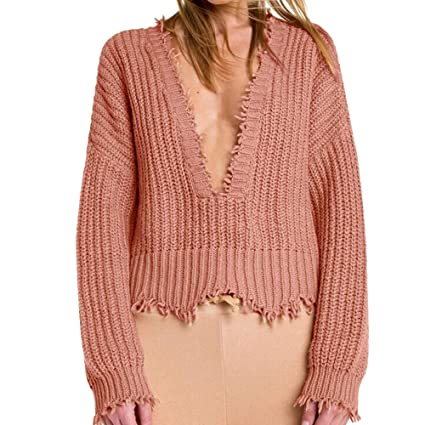 HhGold Suéter Suéter Mujer, Blusa Invierno Mujer Invierno Profundo Escote en v Camisetas de Manga