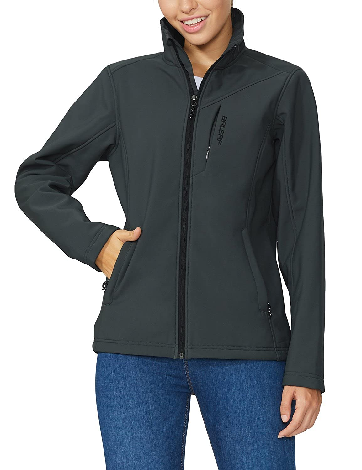 Baleaf Women's Waterproof Windproof Outdoor Softshell Jacket Microfleece Lined