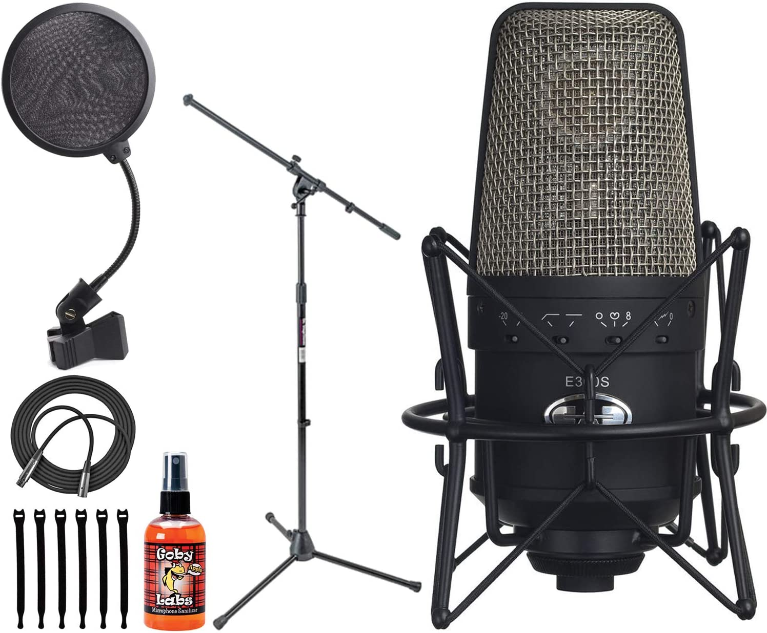 CAD Audio Equitek e300 Multi-Pattern Condenser Microphone (Black) + On Stage 4-Inch Pop Filter + On Stage Euro Boom Mic Stand + Op/Tech Strapeez + XLR Mic Cable + Mic Sanitizer