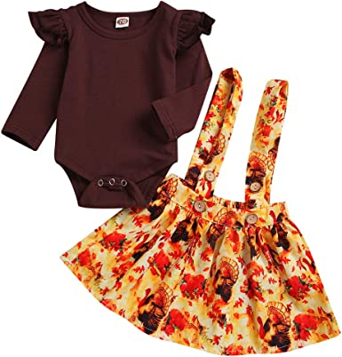 My First Thanksgiving Toddler Baby Girl Clothes Ruffle Sleeve Top Suspender Skirt Dress Outfit Set