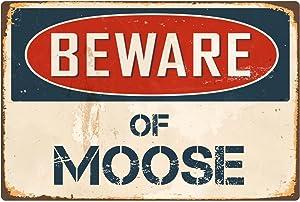 """StickerPirate Beware of Moose 8"""" x 12"""" Vintage Aluminum Retro Metal Sign VS288"""