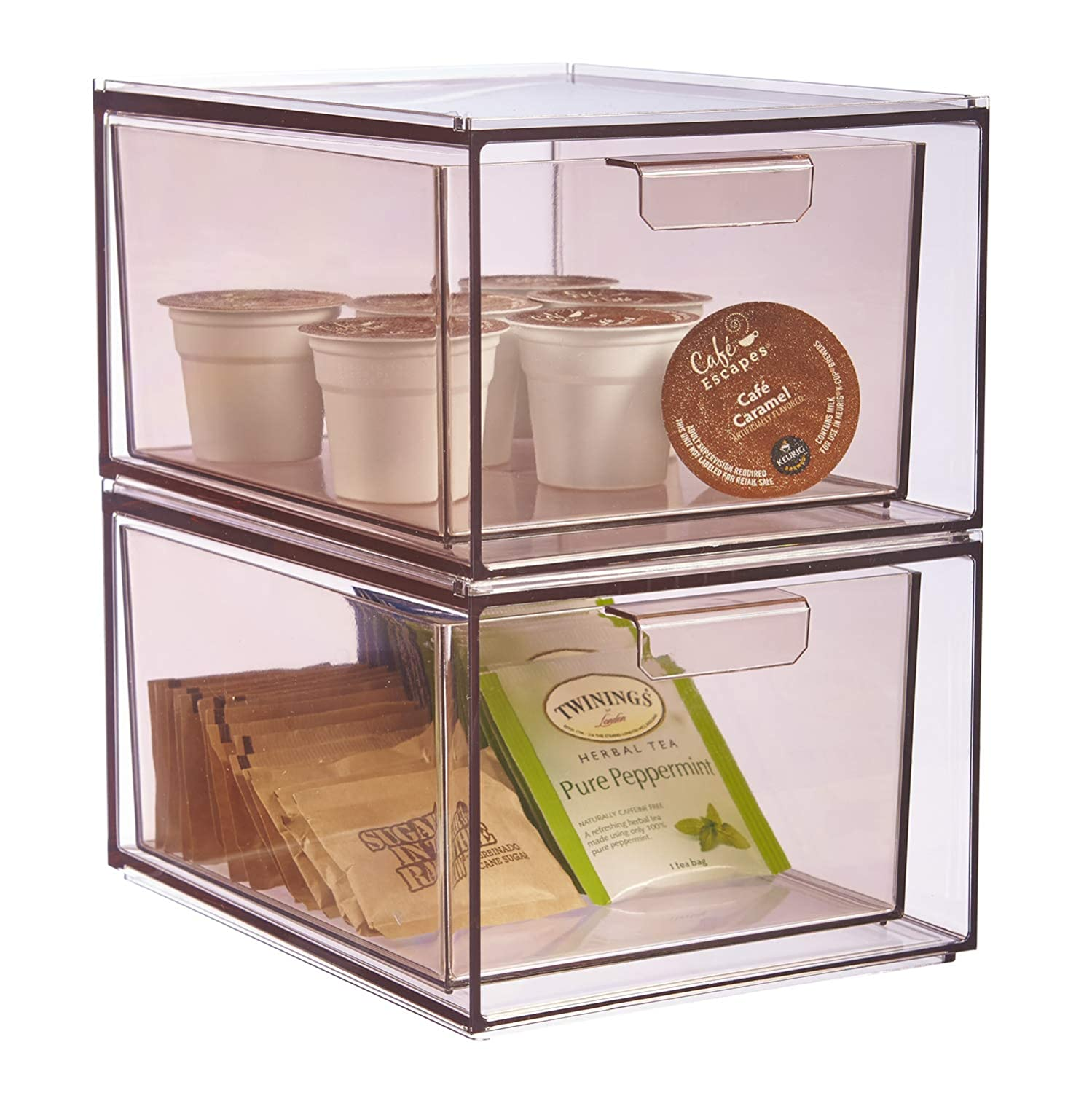 STORi Stackable Clear Plastic Kitchen Organizer Drawers | set of 2 | Mocha Mist