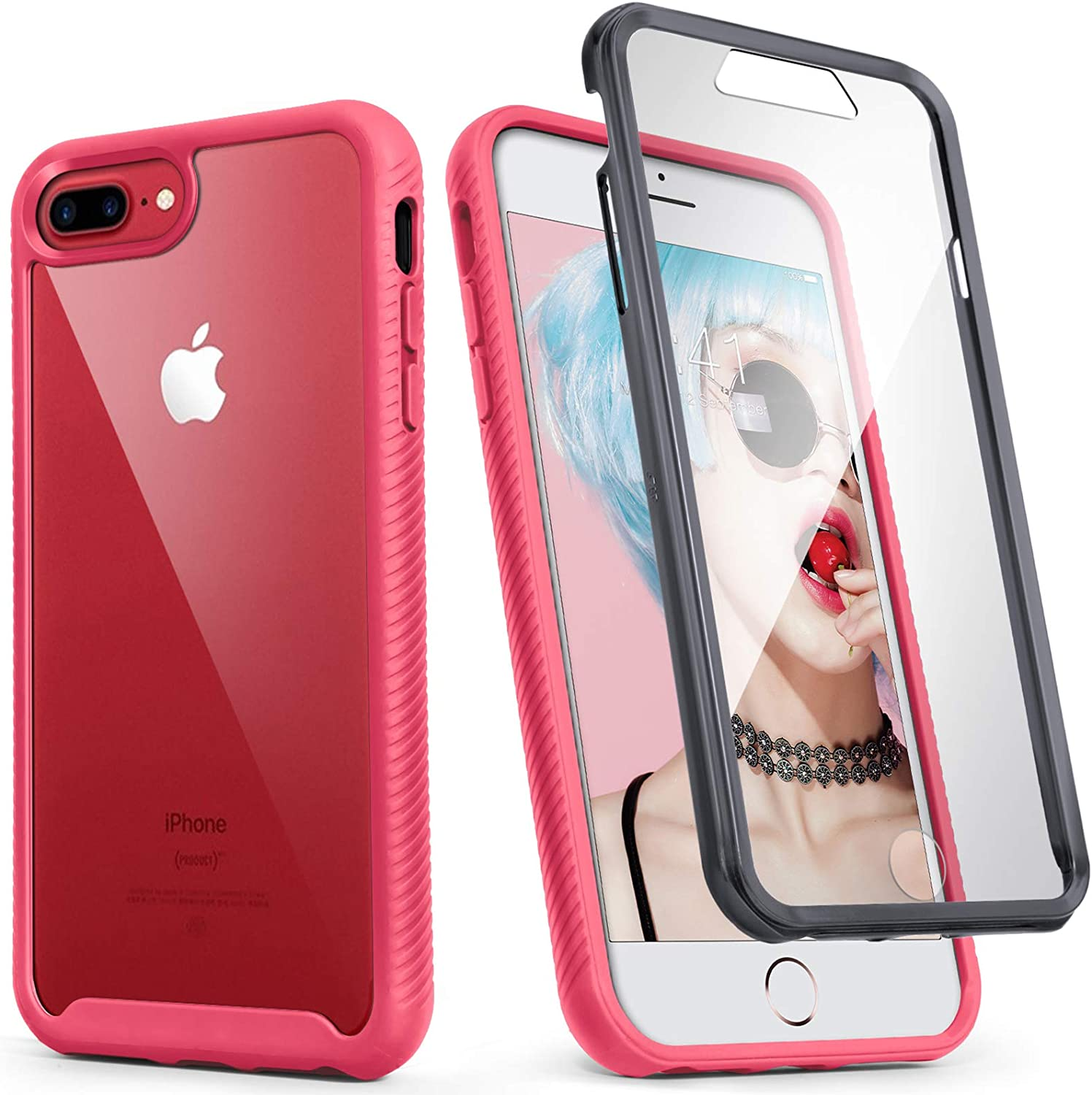 IDweel iPhone 8 Plus Case, iPhone 7 Plus Case, Full-Body Armor Shockproof Case with Build in Screen Protector Heavy Duty Shock Resistant Hybrid Rugged Cover for Apple iPhone 8 & 7 Plus 5.5 Inch, Rose