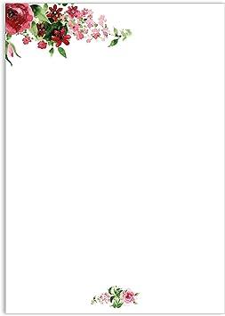 Motivpapier Briefpapier 100 Blatt DIN A4 rosa Rose Einladung Geburtstag Hochzeit