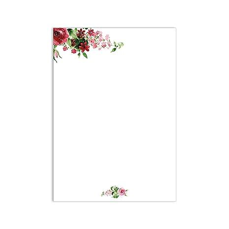 1 Set Carta Da Lettera Rosa I Dv017 Din A4 50 Fogli Design Carta