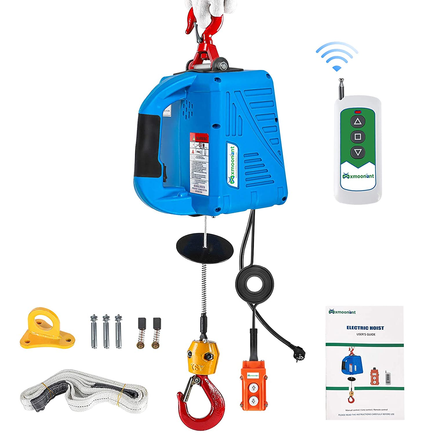 Mxmoonant 1/2 ton Electric Hoist with Remote 110 Volt Electric Winch Portable 25ft 1100lb Three Control Methods