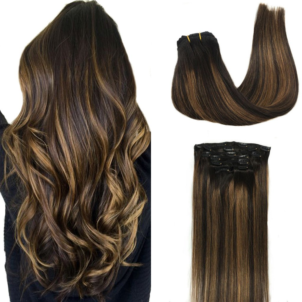 Googoo Clip in Hair extensions Balayage Black to Light Brown Clip in Remy Hair Extensions 100% Real Human Hair 7 Pieces 120g 20inch Silky Straight