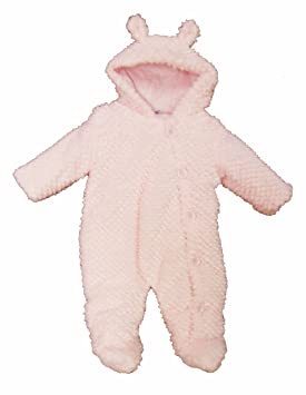 24f12ad0d Baby Girls Cute Button Up Pink Fur Snowsuit with Ears - size 6-9 ...