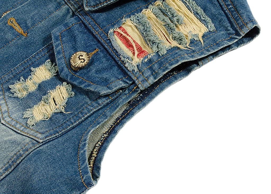 Sawadikaa Mens Vintage Denim Vest Jean Jacket Waistcoat Cowboy Jacket Outerwear at Amazon Mens Clothing store: