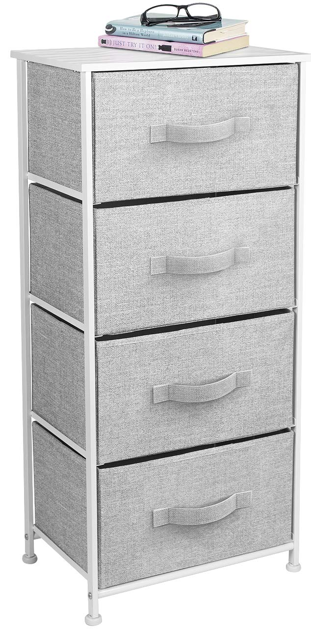 Sorbus Nightstand Chest with 4 Drawers - Bedside Furniture End Table & Dresser for Clothing, Bedroom Accessories, Office, College Dorm, Steel Frame, Wood Top, Easy Pull Fabric Bins (White/Gray)