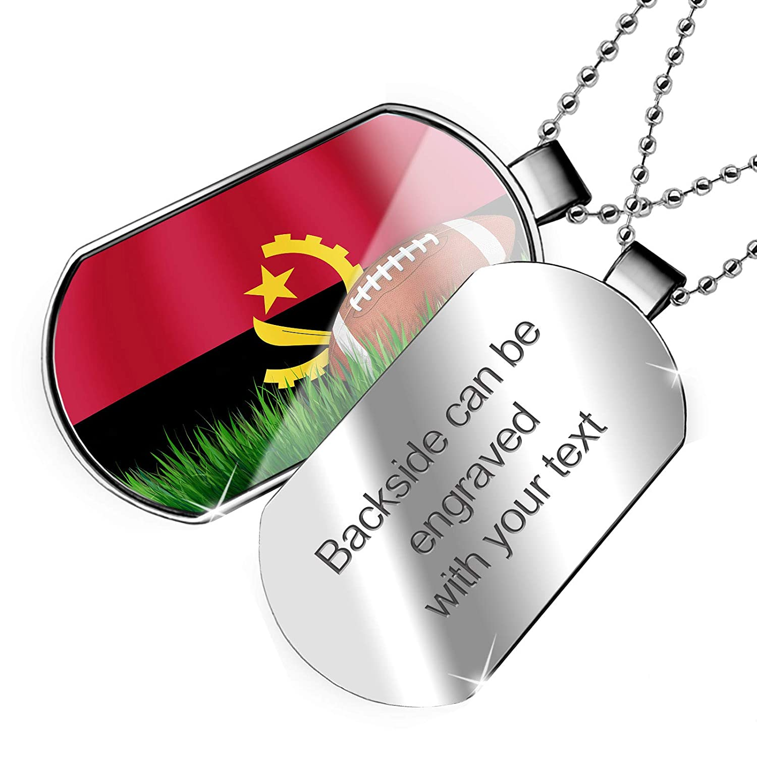 NEONBLOND Personalized Name Engraved Football with Flag Angola Dogtag Necklace