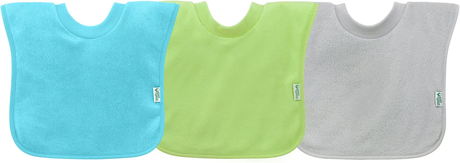green sprouts Stay-dry Toddler Bib (3pk) | Convenient stay-put protection | Wide coverage & waterproof, Pull-over design, Bibs, One Size, Aqua set (Aqua, Green, Grey)