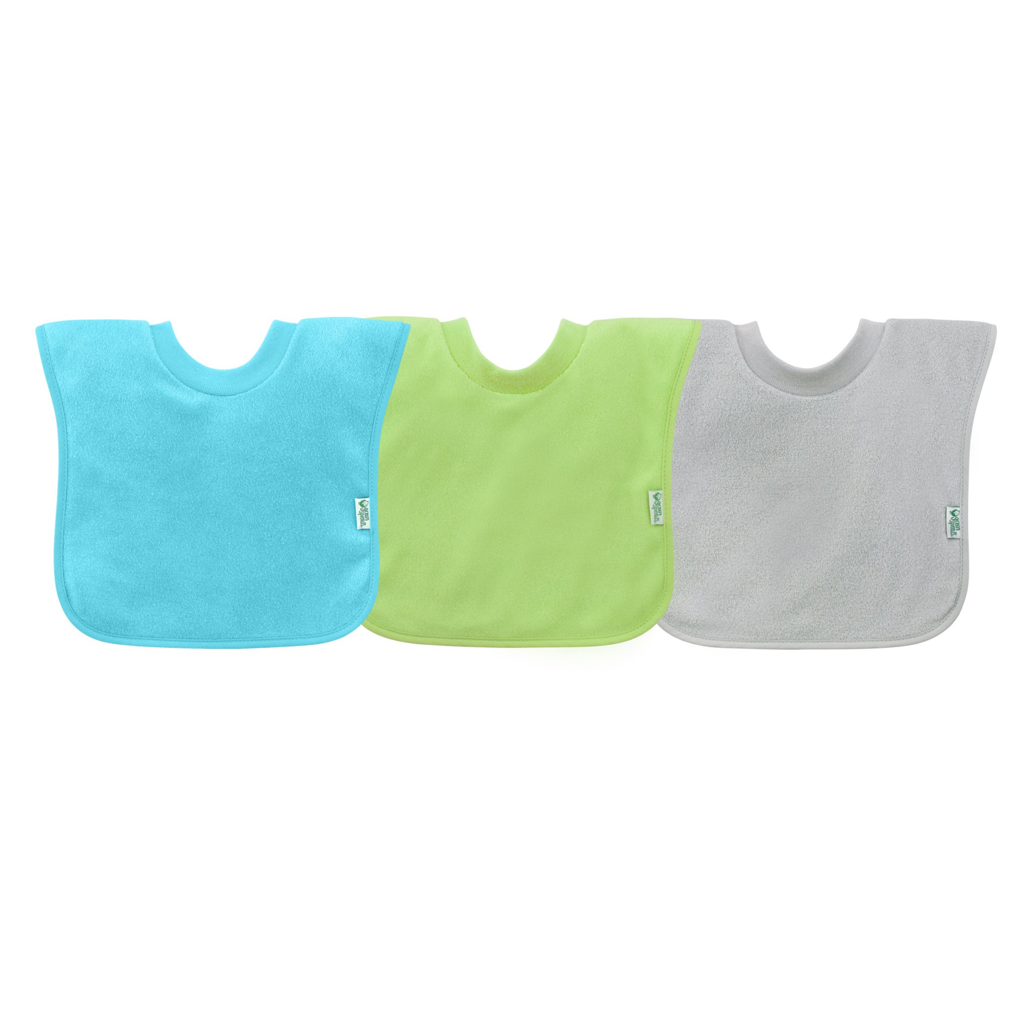 green sprouts Pull-Over Stay-Dry 3 Piece Bibs, Aqua Set