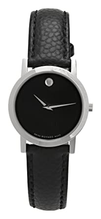 0fafa59a4 Amazon.com: Movado Women's 606087 Museum Black Leather Strap Watch ...