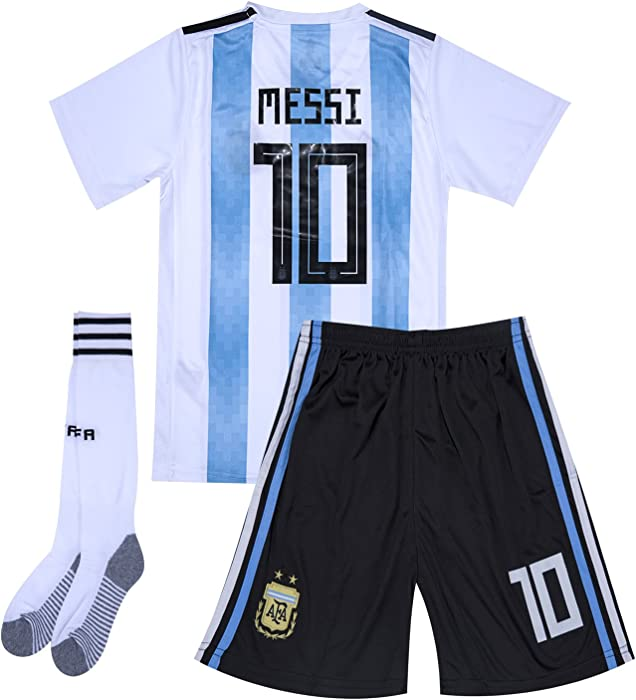 0773651bf Amazon.com  Argentina National Team  10 Messi Home Soccer Jersey   Shorts    Socks Kids Youth Boys Girls White Blue for 8-9Y Size 24  Clothing