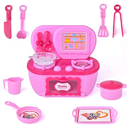 Play Kitchen Toys For Todders 12pcs Mini Pink Toy Kitchen Appliances Including Electric Burner Stovetop With Oven Various Kitchen Utensils Kitchen